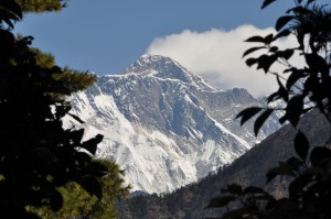 A view of Mt. Everest as seen from the trail on the way from Lukla to Namche Bazar.