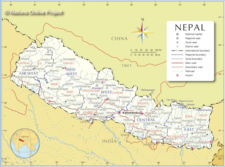 Nepal Administrative Map from the Nations Online Project