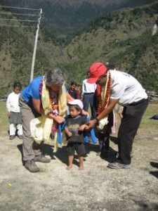 Himalayan children's Project delivering fleece to children in remote area of Nepal