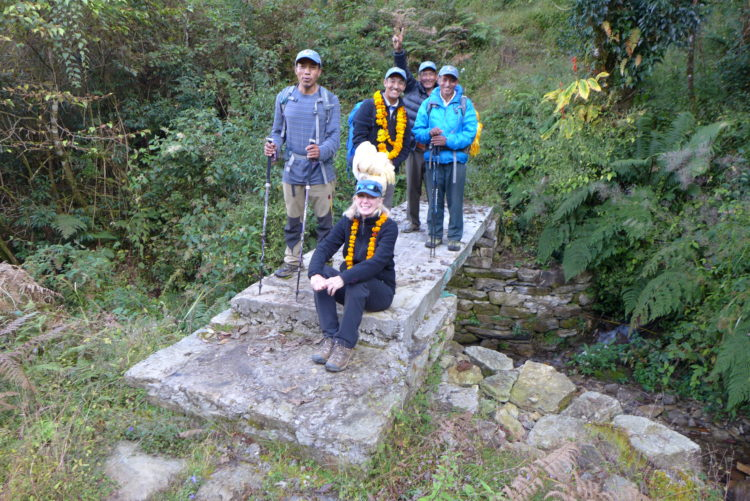 Denise Coriell of Tara Foundation USA visits one of the bridges built as part of the 12 Bridges Project funded by Tara Foundation USA.