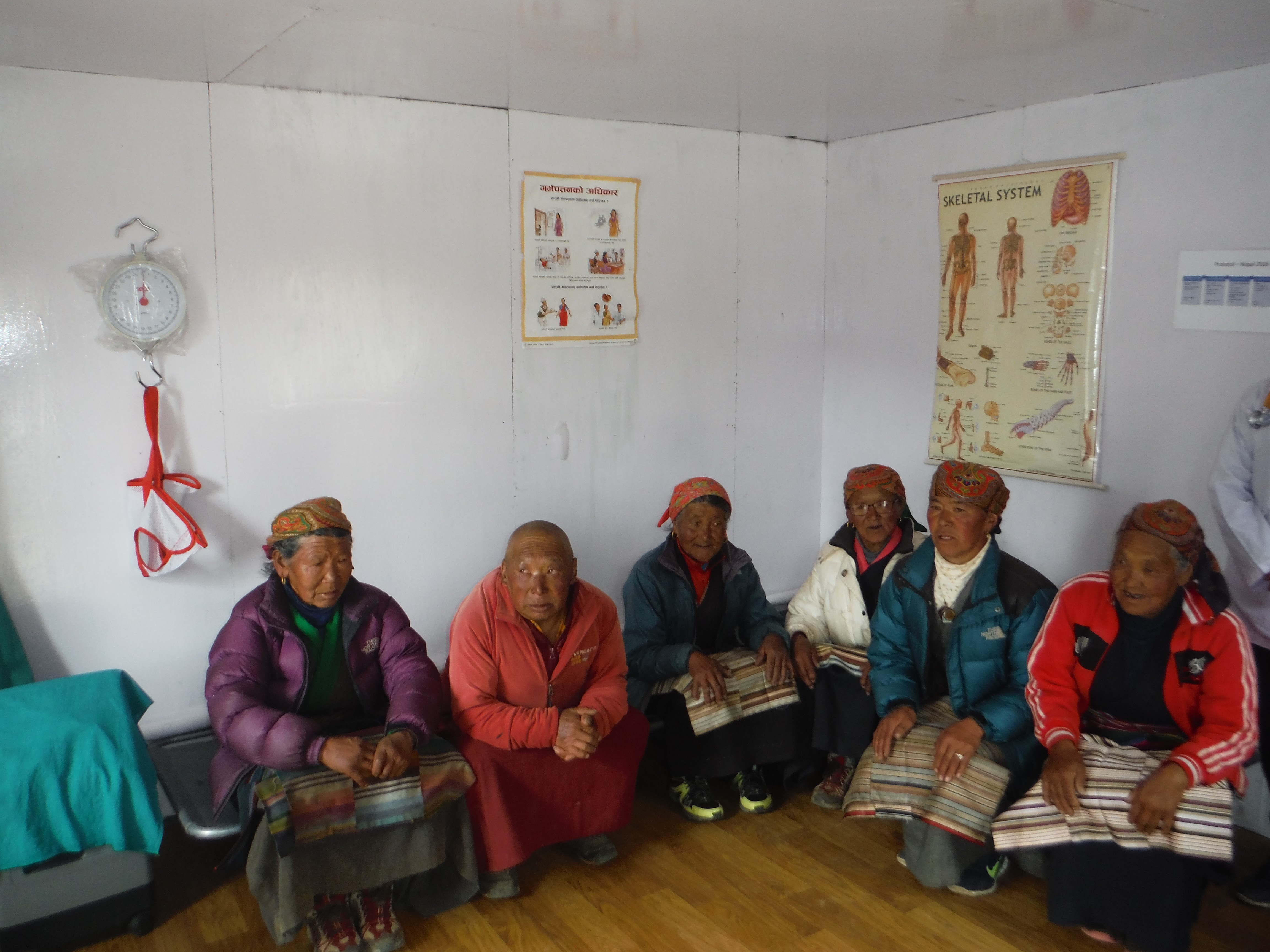 Nepali people in the waiting room at the Thame Clinic in Thame Nepal.